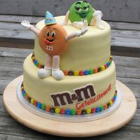 M&m Cake M&M cake for a couple that is called M&M by friends. They recieved dolls and wanted these figures as 3-D on the cake, all fondant