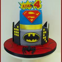 "Superhero Cake  This was for my youngest son, who wanted a cake with Superman, Spiderman and Batman! 2 chocolate mudcakes (8"" & 5"") with milk..."