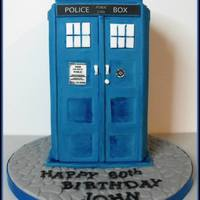 "Tardis Cake  This stood around 9"" tall and caused all sorts of stress!! It was a for a lovely gentleman who had suffered brain damage as a child..."