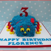 Woolly The Spider   Woolly from 'Woolly & Tig' on Cbeebies channel. 2 chocolate cakes covered in bright blue buttercream!
