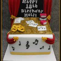 "Cake For A Performing Arts Fan   My first cake with a 'backdrop'. 7"" vanilla sponge with white chocolate ganache. The customer absolutely loved it :)"