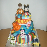 Multi Colour Character Cake Alternative christening cake for a little boy called Frankie. Multi Colours and plenty of favorite characters! This was very bright..