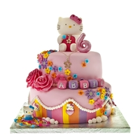 Hello Kitty Cake Colourful Hello Kitty with Flowers Stripes and necklaces <3