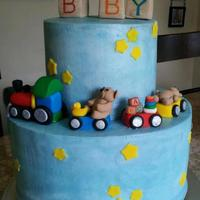 A Baby Boy butter Cream cake for a baby boy Baby shower