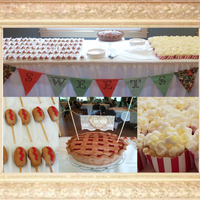 Carnival Themed Wedding Cake Carnival WeddingCherry Pie-The cakeRed velvet, white choc. frosting, fondant coveredCorn dogs, choc. cake pops popcorn buckets, white cake...
