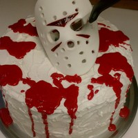 Jason Voorhees - Halloween Cake 3 layer, red velvet, cream frosting/filling. Fondant Mask.