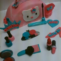 Hello Kitty Purse Cake With Fondant Make Up 3 layer, buttercream filling, fondant covered and decor. Fondant make up: 2 lickstick, mascara, 2 nail polish, cover up, eyeshadow with...
