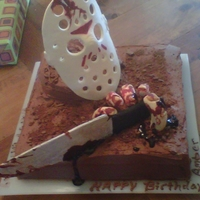 Friday 13Th Cake   CHOCOLATE CAKE WITH GUM PASTE DECORATION