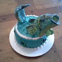 Bass Buster Fish made of RCT covered in fondant, and hand painted.