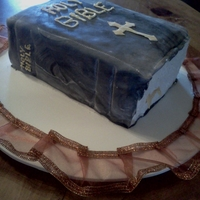 Family Bible Strawberry cake made for Homecoming at Church.