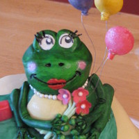 "2013 1St Birthday wanted to create a sweet face frog. frog, ""1"", balloons made from gum paste. balloons are hollow, wire is 28gauge."