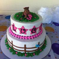 Pink Horse Themed Cake Buttercream with fondant horse and accents
