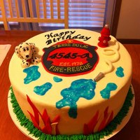 Fireman Rescue Birthday Cake Buttercream with fondant dalmation, hydrant and accents