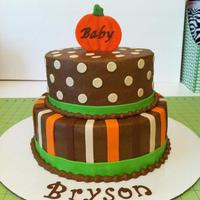 Fall Pumpkin Baby Shower Buttercream with fondant accents