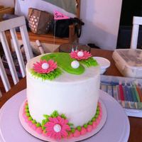 Pink Flower Golf Cake Buttercream with fondant golf balls and flowers