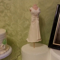 Wedding Dress Cake   Picture of dress, gumpaste topper and cake for bridal shower