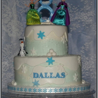 Frozen Themed Cake Customer Added Figurines For Her Daughters Birthday Dark Chocolate Cake With Vanilla Bean Bc And Fondant Accents  Frozen themed cake, customer added figurines for her daughter's birthday.Dark chocolate cake with Vanilla Bean BC and fondant accents...