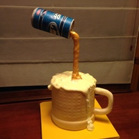 First Gravity Cake Yellow Cake Covered In Fondant Marshmallow Foam Beer Can Made Of Molding Chocolate Label Of Rice Paper Liquid Pouri  First gravity cake, yellow cake, covered in fondant, marshmallow foam, beer can made of molding chocolate, label of rice paper, liquid...