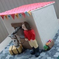 Stables Cake This was a 2x 7 inch square cake, stacked inside to make a cube shape. I pre-made the panels a week before and let them set, I just made...