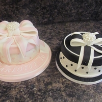 Gift Box Cakes black and white ,and pink and white giftbox birthday cakes