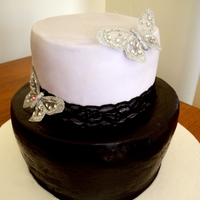 Black/lavender Lace Lavender and black cake with silver butterflies and lace