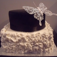 Black And White Ruffle White ruffles with Silver butterfly accents and Diamante chain