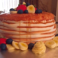 Pancake Stack Cake Pancake Stack! Inspired by Drexels and Shereen's Cakes and Bakes :)All edible.. fruit made out of fondant and butter out of...