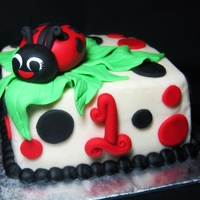 "Lady Bug Cake And Smash Cake 3 layer 9 x 13 "" sheet cake with a 4"" square smash cake. Fondant lady bugs and dots"