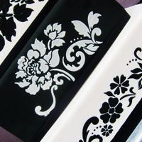 Black And White Stenciled Cake