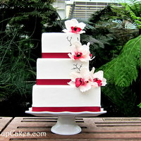 Off Set Square 3 Tier Orchid Cake Off set square 3 tier orchid cake