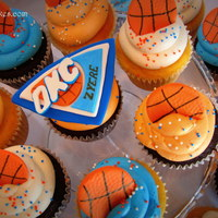 Okc Basketball Cupcakes OKC Basketball logo in fondant with fondant basketballs.