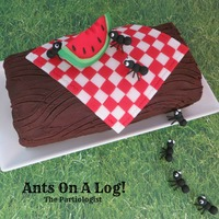 Ants On A Log! Fondant ants having a picnic on top of a Chocolate Cake Roll!