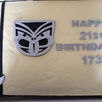 21St Birthday Cake Warriors team Logo... Client Requested their sons employee number instead of his name to make it more NRL realated :) Client provided the...