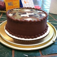 Camo Cake This was a birthday cake for my brother who loves to hunt. It was a camo aplique that I used and chocolate buttercream. The layers are...