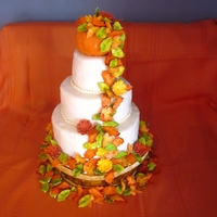 Fall Wedding Cake I made this cake for my parents 35th anniversary/vow renewal. Bottom tier is a basket with a 3 tiered ivory wedding cake and topped with a...