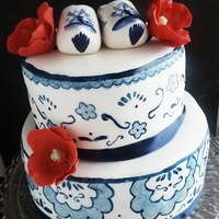 Delft Blue Anniversary Cake Delft blue cake I made for my Oma and Opa's anniversary. I have had this design in mind for a wedding cake for a long time but thought...