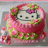 Hello Kitty fresh cream cake with fresh fruits