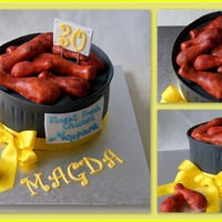 Funny Birthday Cake with sugar chicken portion