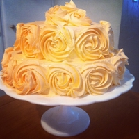 Dreamsicle Rosette WASC cake with dreamsicle frosting