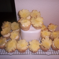 Tropical Coconut And Pineapple Cupcakes W/ Pineapple Flowers.