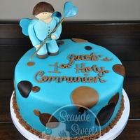 Jacob's 1St Communion Fondant covered cake inspired by the invitation.