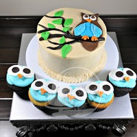 Owl Cake And Cupcakes For A Baby Shower Decorated In Buttercream With Fondant Accents   Owl cake and cupcakes for a baby shower. Decorated in buttercream with fondant accents.