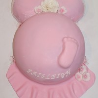 "Pregnant Belly Baby Shower Cake I used a small glass pyrex bowl for the boobies and a large glass pyrex bowl for the belly, I also made a 10"" round cake and placed it..."