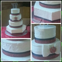 Navy And Red Bling Wedding Cake