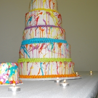 Splattered Paint Wedding Cake Stacked buttercream wedding cake splattered with thinned buttercream from a paint brush.