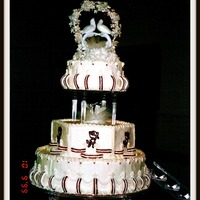 Wedding White Cake ~ Buttercream ~ Royal Icing Roses/Bands with Fountain