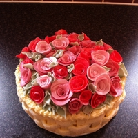 Rose Basket Cake I am very pleased with this cake - made for a charity raffle. My first attempt at using a basketweave nozzle.