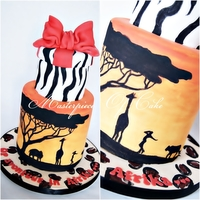 Safari Themed Cake All Handpainted Details And Animal Prints Added A Model Posing Next To The Giraffe And Lion To Give It A Personal Touch... Safari Themed Cake All handpainted details and animal prints. Added a model posing next to the giraffe and lion to give it a personal touch...