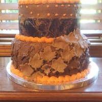 I Made This Cake For A Client She Wanted Blaze Orange Piping And Camo I made this cake for a client. She wanted blaze orange piping and camo.