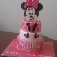 "Minnie Mouse Cake For Little Girl Three tier cake with 6"",8"" vanilla cake and 10"" chocolate cake - find us on face book at Hearty Cakes :-))"